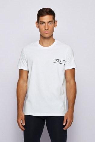 BOSS White Crew Neck Logo T-Shirt