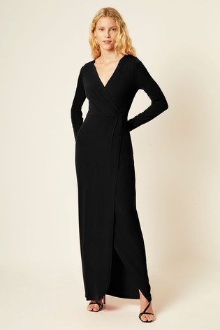 French Connection Black Slinky Jersey Wrap Maxi Dress