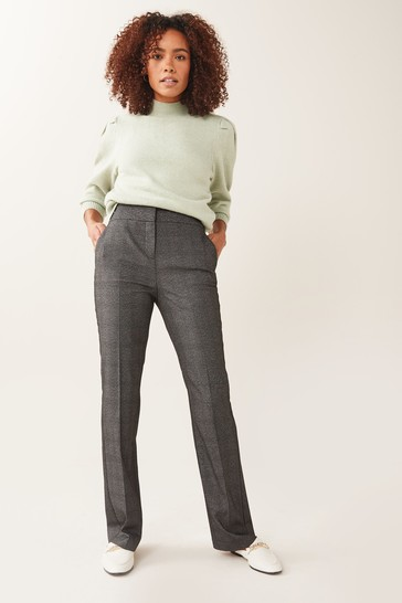 Grey Check Shapewear Boot Cut Trousers