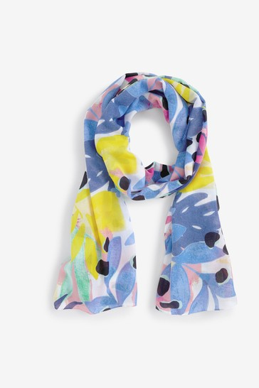 Blue/Pink Abstract Print Lightweight Scarf