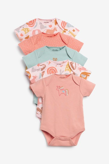 Pastel Character 5 Pack Short Sleeve Bodysuits (0mths-3yrs)