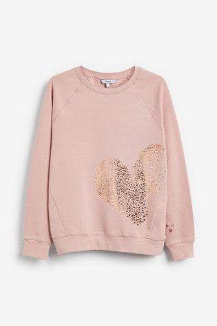 Blush Foil Heart Graphic Sweatshirt
