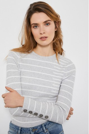 Mint Velvet Grey Irregular Stripe Jumper