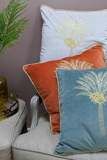 Furn Red Velvet Desert Palm Cushion