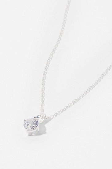 Accessorize White Sterling Silver Round Solitaire Necklace