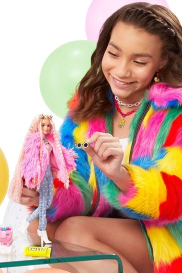 Barbie Extra Doll In Pink Fluffy Coat With UnicornPig Toy