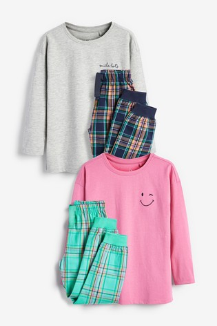 Teal/Pink 2 Pack Woven Bottoms And Soft Touch Jersey Top Pyjamas (3-16yrs)