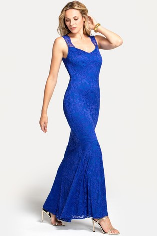 HotSquash Blue Sweetheart Neckline Lace Maxi Dress