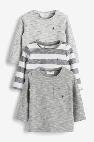 Monochrome Stripe 3 Pack Stretch T-Shirt (0mths-3yrs)