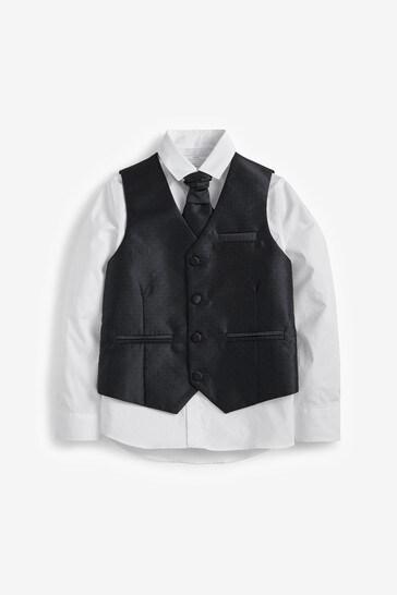Black Wedding Waistcoat, Shirt And Tie Set (12mths-16yrs)
