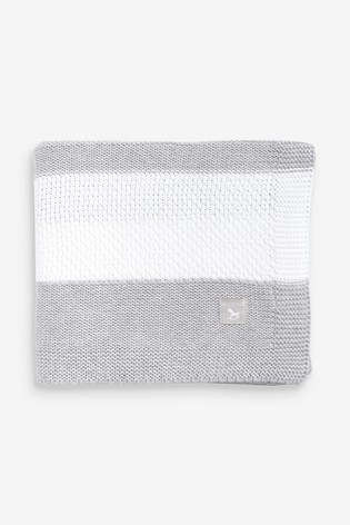 The Little Tailor Grey Textured Stripe Baby Shawl Blanket