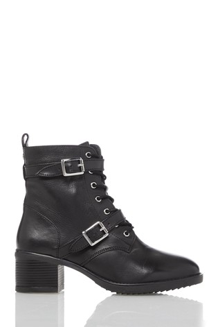 Dune London Paxtone 2 Black Leather Buckle Detail Lace-Up Boots