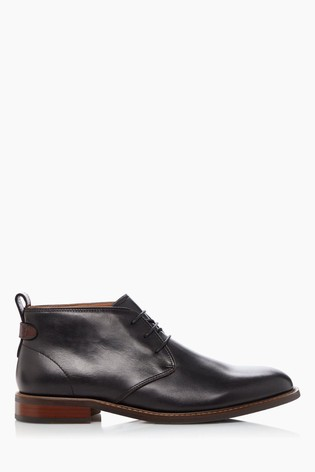 Dune London Marching Black Leather Lace-Up Chukka Boots