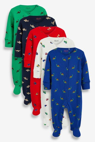 Bright Characters 5 Pack Printed Sleepsuits (0-2yrs)