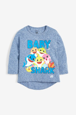 Blue Long Sleeve Baby Shark T-Shirt (3mths-6yrs)