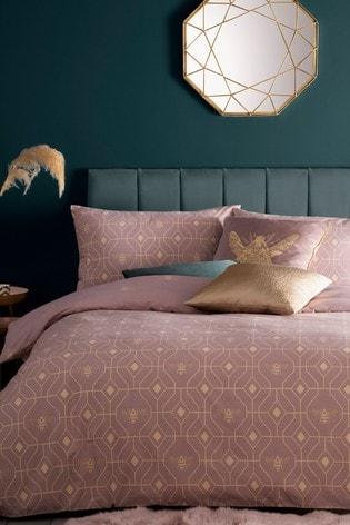 Furn Blush Bee Deco Geo Reversible Duvet Cover and Pillowcase Set