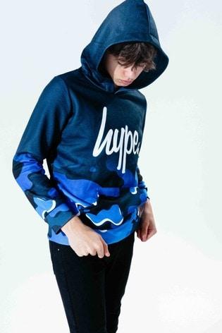 Hype. Blue Camo Fade Script Kids Pullover Hoody
