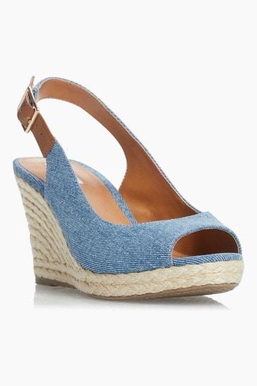 Dune London White Kicks 2 Espadrille Wedge Heel Sandals