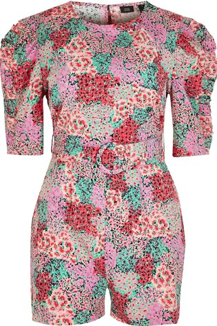 River Island Pink Bright Short Sleeve Printed Playsuit