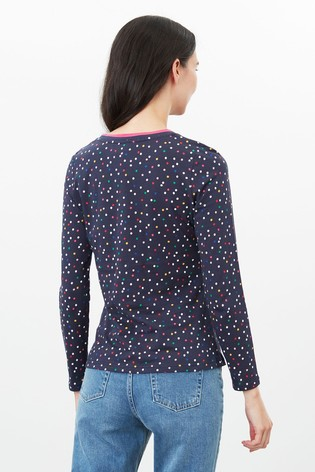 Joules Blue Selma Print Long Sleeve Jersey Top