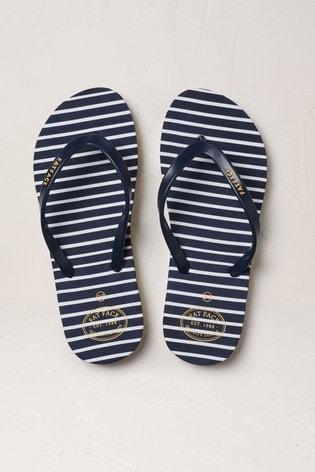 FatFace Navy Hope Stripe Flexi Flip Flops