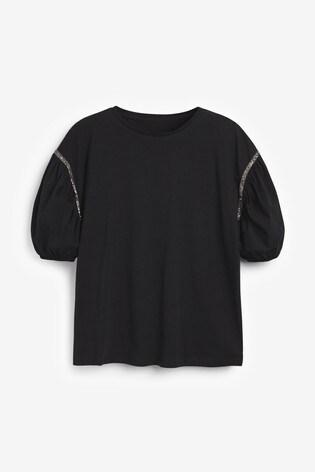 Black Embellished T-Shirt