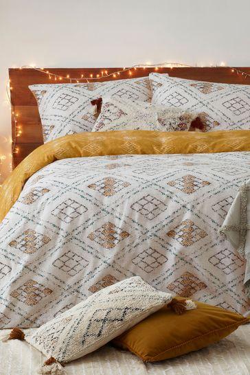 Furn Atlas Brushed Cotton Reversible Geo Duvet Cover and Pillowcase Set