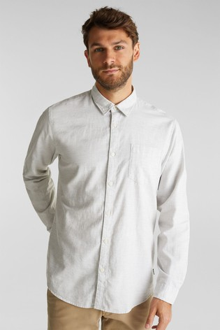 Esprit Mens Grey Long Sleeved Structured Woven Shirt