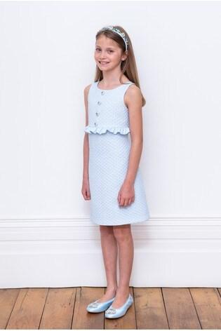 David Charles Blue Brocade Dress