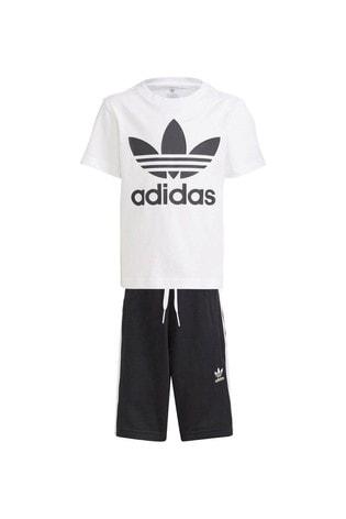 adidas Originals Little Kids White Trefoil T-Shirt And Short Set