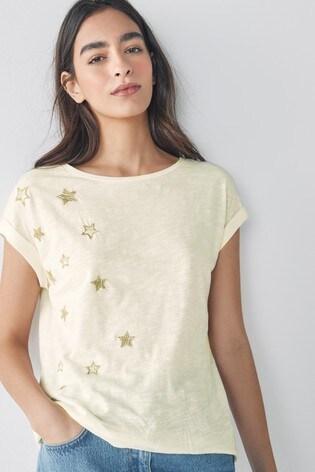 Ecru Embroidered Star Short Sleeve T-Shirt