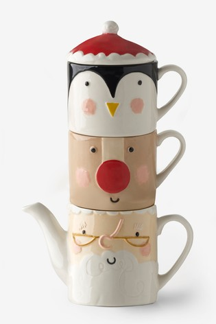 Set of 2 Festive Mugs And Teapot