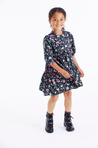 Black Floral Tiered Dress (3-16yrs)