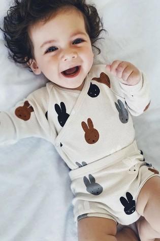 Tobias & The Bear Birch Grey Miffy & Friends Kimono Bodysuit