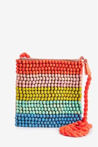 Angels by Accessorize Orange Rainbow Beaded Across Body Bag