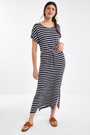 Navy/White Short Sleeve Maxi Dress