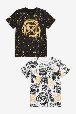 Black/Gold Gamer 2 Pack Graphic T-Shirts (3-16yrs)