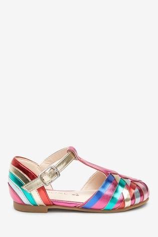 Rainbow Woven T-Bar Shoes