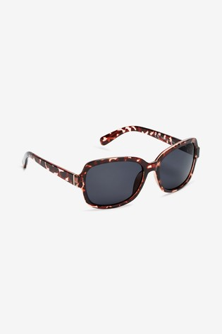Pink Tortoiseshell Effect Small Square Polarised Sunglasses