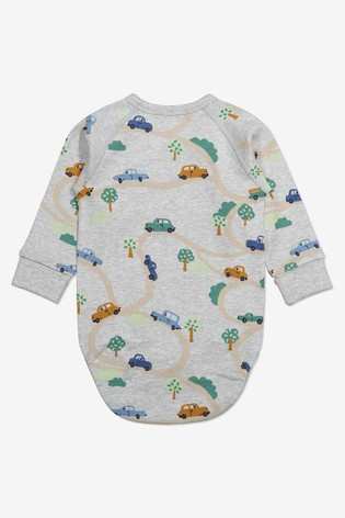 Polarn O. Pyret Grey Organic Cotton Car Print Babygrow