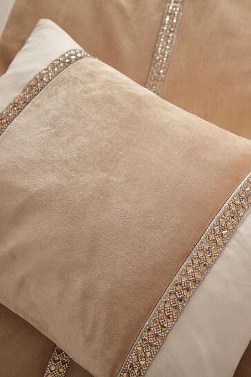 Catherine Lansfield Gold Velvet Diamanté Glamour Cushion