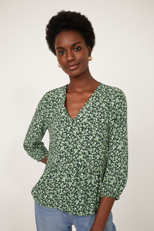Warehouse Green Ditsy Floral Button Front Top