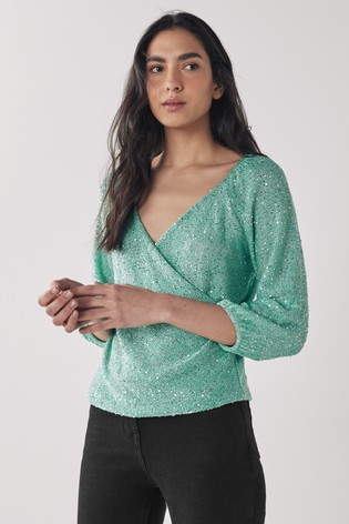 Sage Sequin Wrap Top