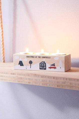 Personalised Family Christmas Tealight Holder by Oakdene