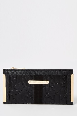 River Island Black Embossed Metal Corner Purse