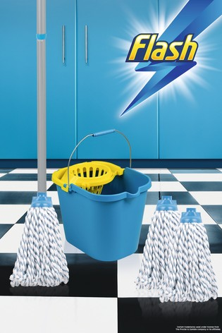 Flash Duo Mop With 2 Mop Head Refills And Flash Mop Bucket by Wham