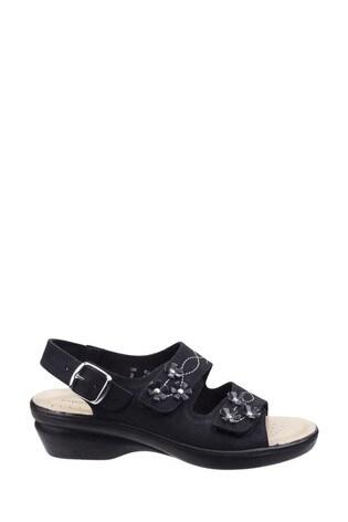 Fleet & Foster Black Amaretto Women's Touch Fastening Leather Sandals