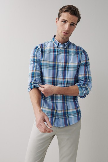 Blue Brushed Flannel Check Long Sleeve Shirt