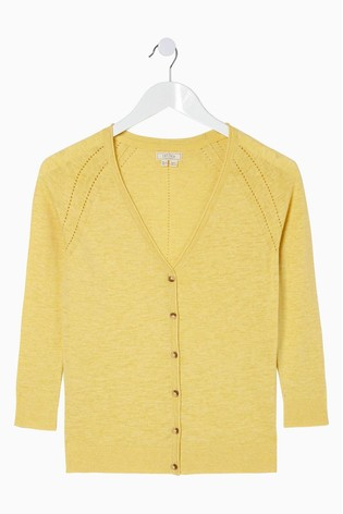 FatFace Yellow Rose Cardigan