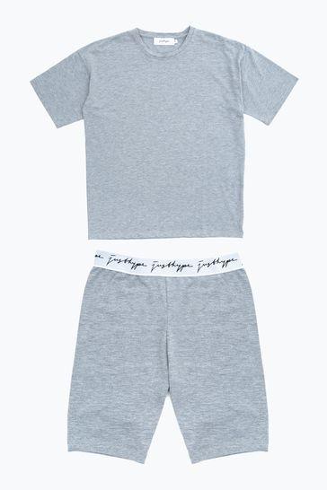 Hype. Grey Oversized T-Shirt And Cycle Shorts Set